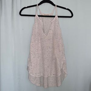 White with black speckles knit tank top